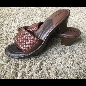 Born Woven Leather Slide Sandals with Heel